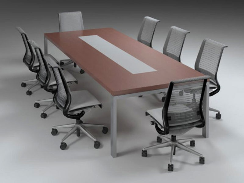 Rectangular Boardroom Table with Glass Inlay