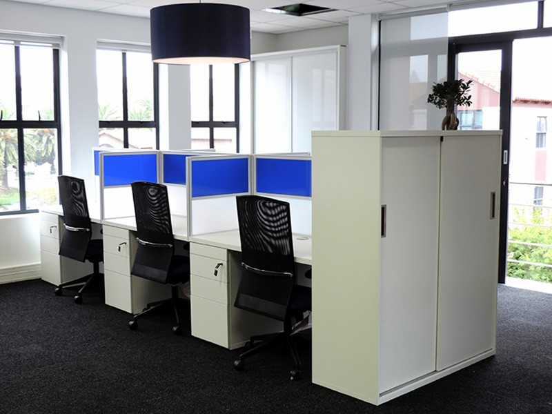 6-way Call Centre Cluster with Perspex Screens