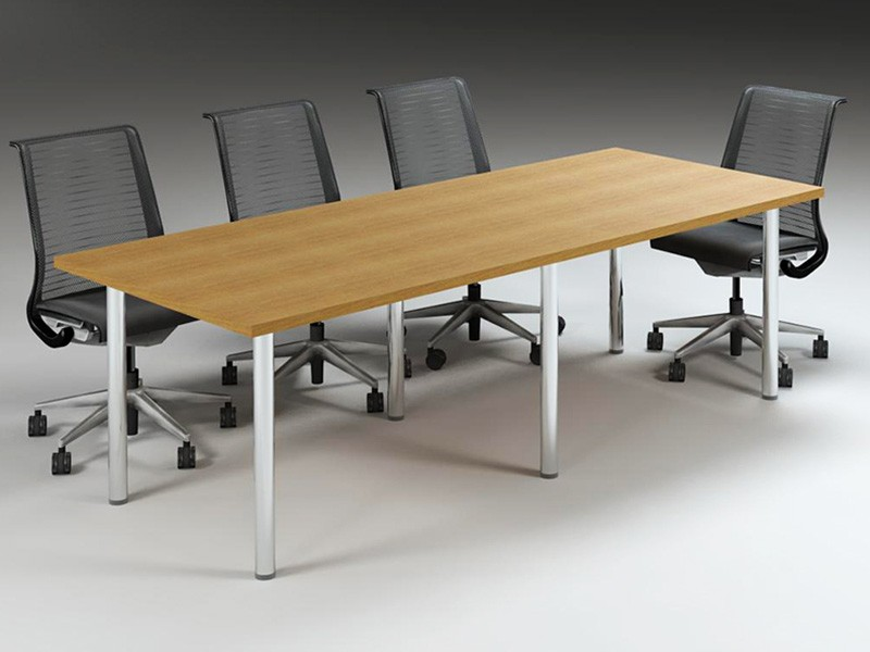 8-Seater Table with Silver Pole Legs