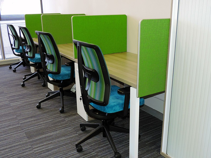 Desks with Green Fabric Dividers
