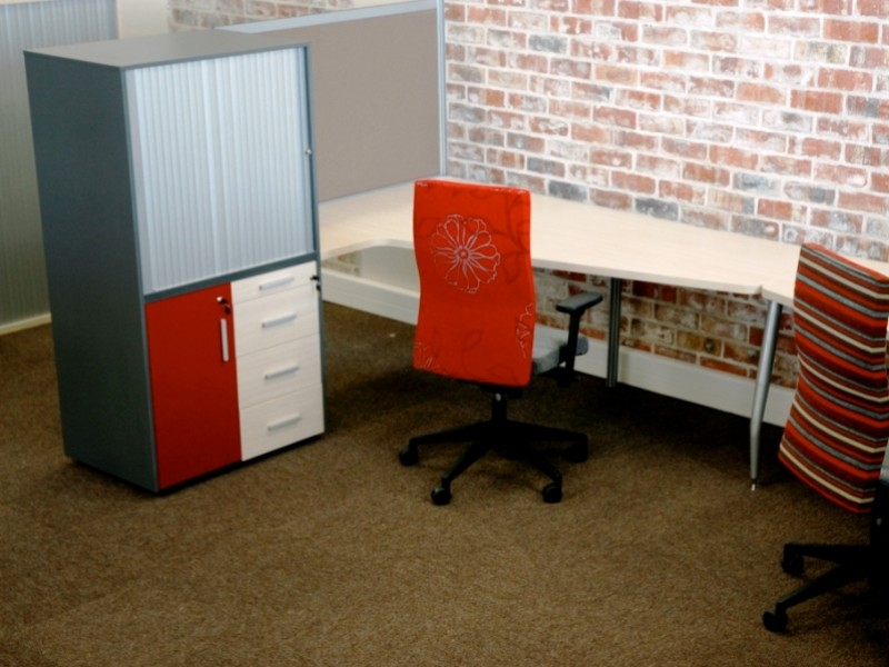 Clerical desk with combo storage