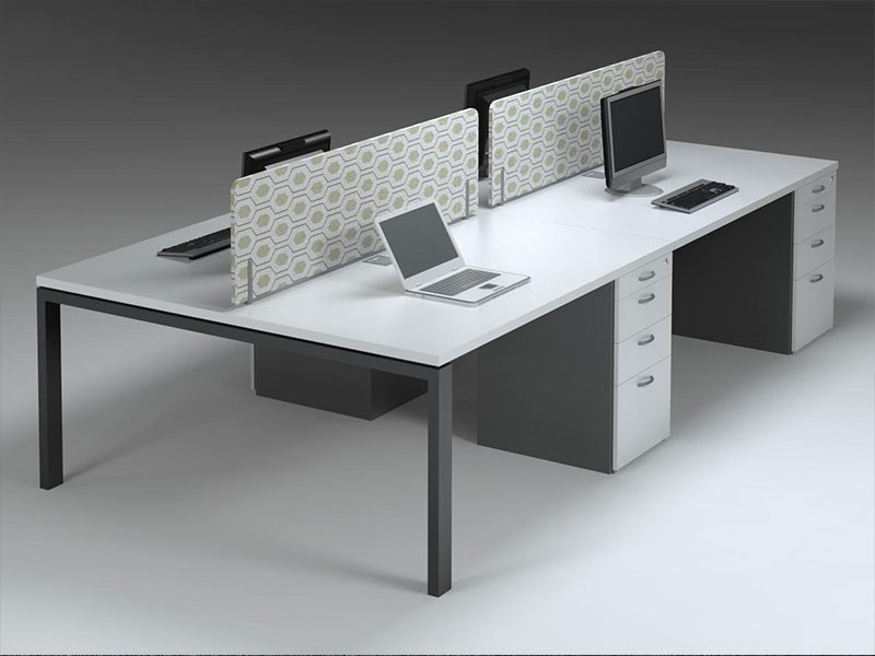 4-way cluster desks with fabric screens