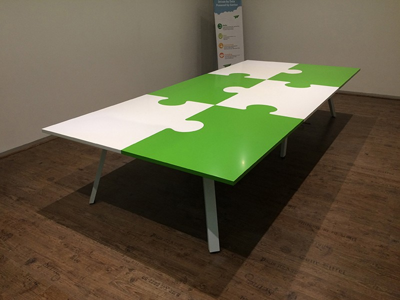 Puzzle Boardroom Table with White A-Frame