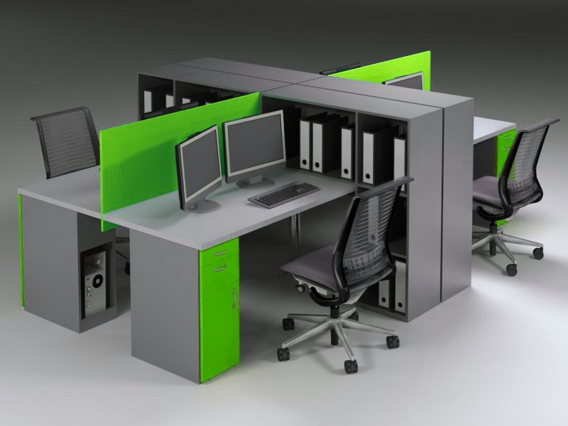 Bench Desking with Storage Dividers