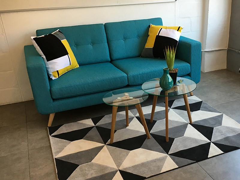 Teal Sofa With Timber Legs