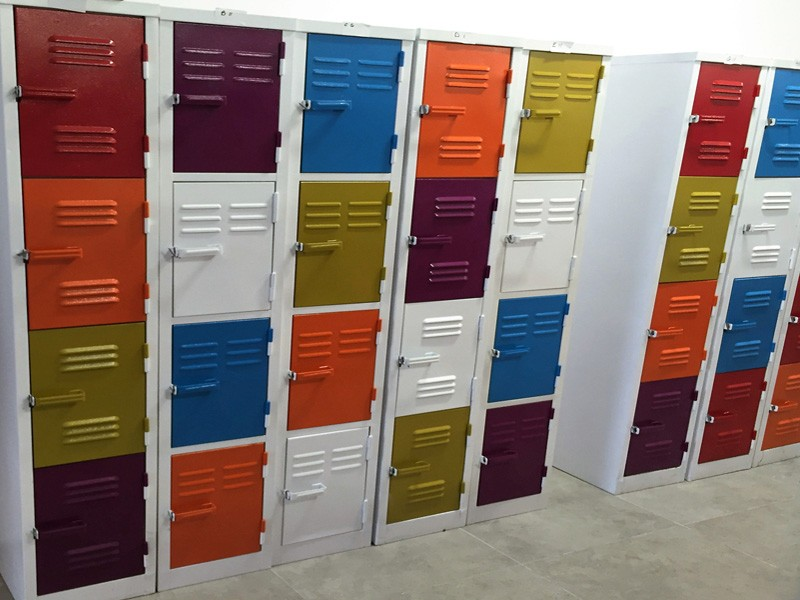 White Lockers with Multi-Coloured Doors