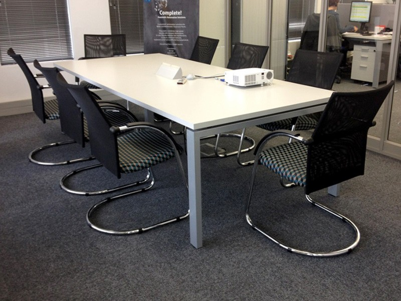 Rectangular Boardroom Table with White Top